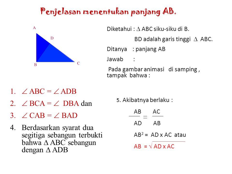 Penjelasan menentukan panjang AB.