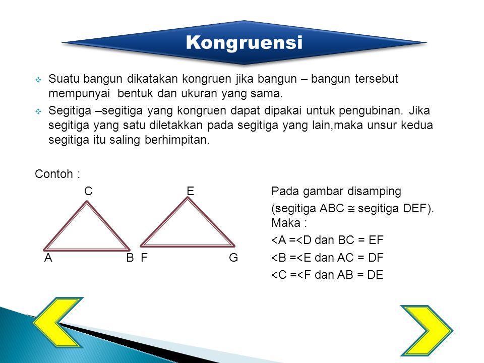 Kongruensi Suatu bangun dikatakan kongruen jika bangun – bangun tersebut mempunyai bentuk dan ukuran yang sama.