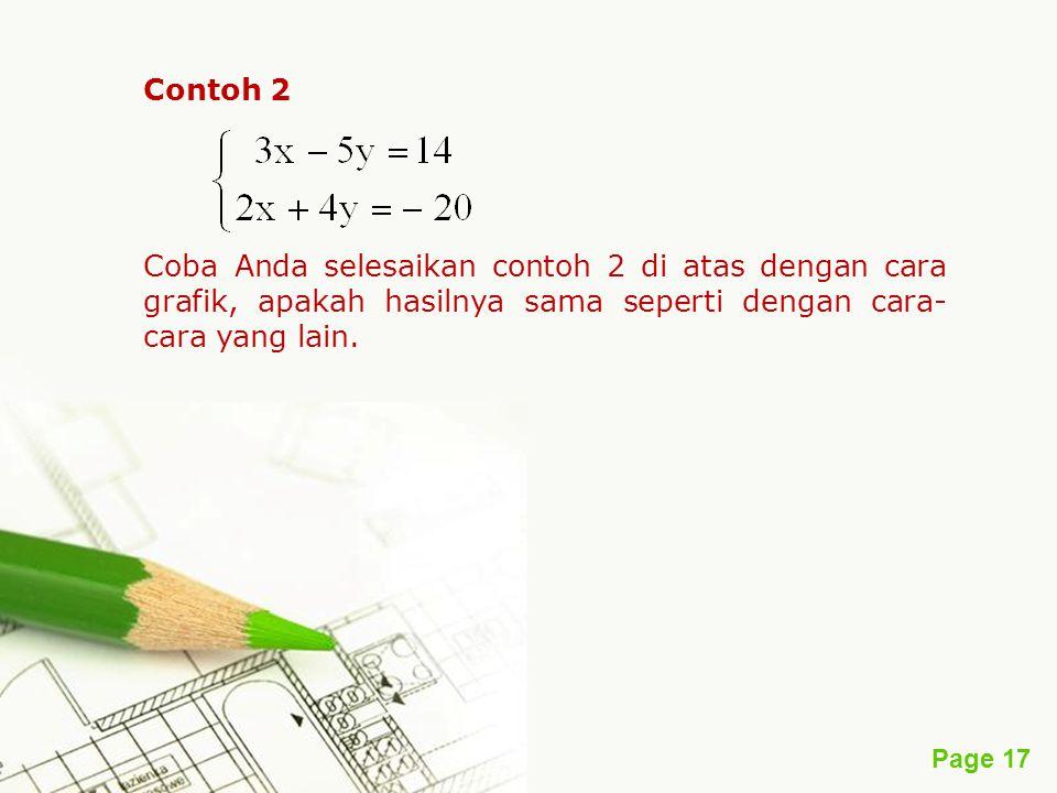 Contoh 2 Coba Anda selesaikan contoh 2 di atas dengan cara grafik, apakah hasilnya sama seperti dengan cara-cara yang lain.