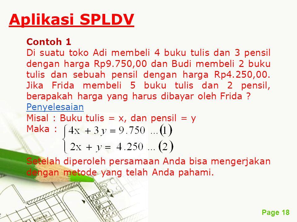 Aplikasi SPLDV Contoh 1.