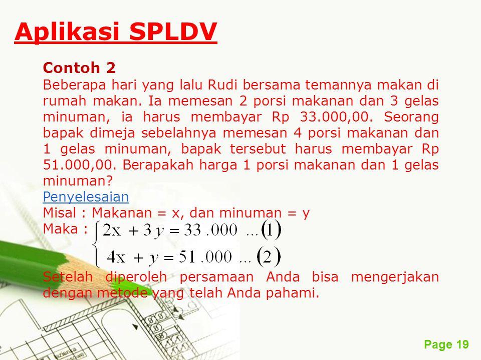 Aplikasi SPLDV Contoh 2.