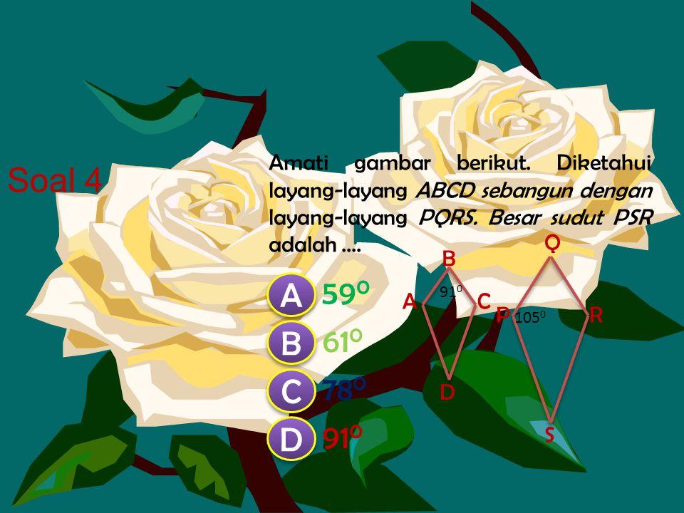 Amati gambar berikut. Diketahui layang-layang ABCD sebangun dengan layang-layang PQRS. Besar sudut PSR adalah ....