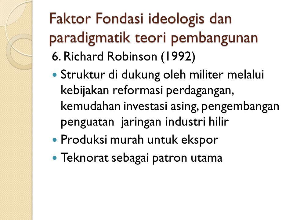 Faktor Fondasi ideologis dan paradigmatik teori pembangunan