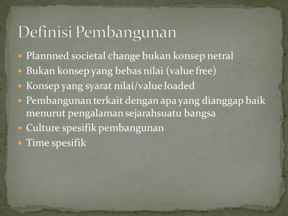 Definisi Pembangunan Plannned societal change bukan konsep netral