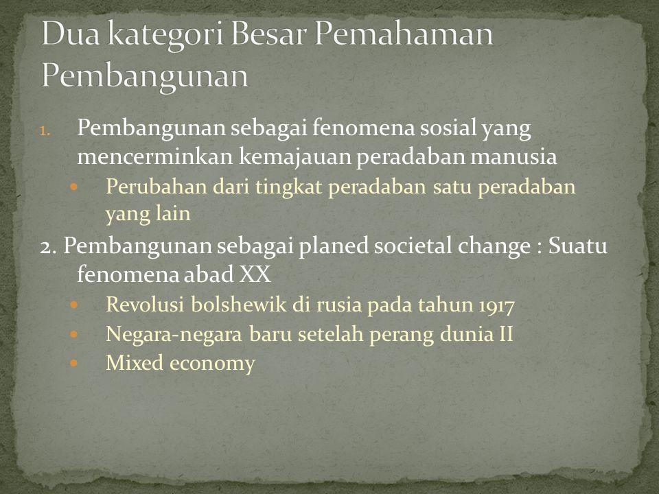Dua kategori Besar Pemahaman Pembangunan