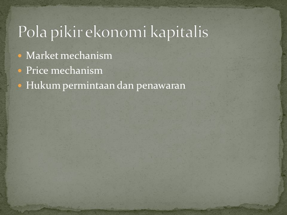 Pola pikir ekonomi kapitalis
