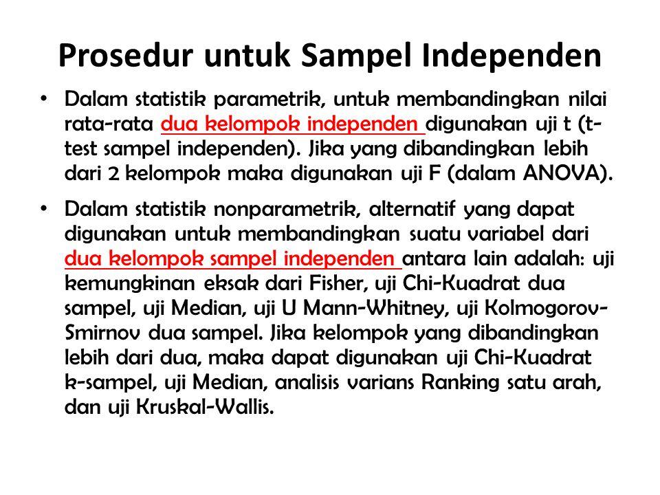 Prosedur untuk Sampel Independen