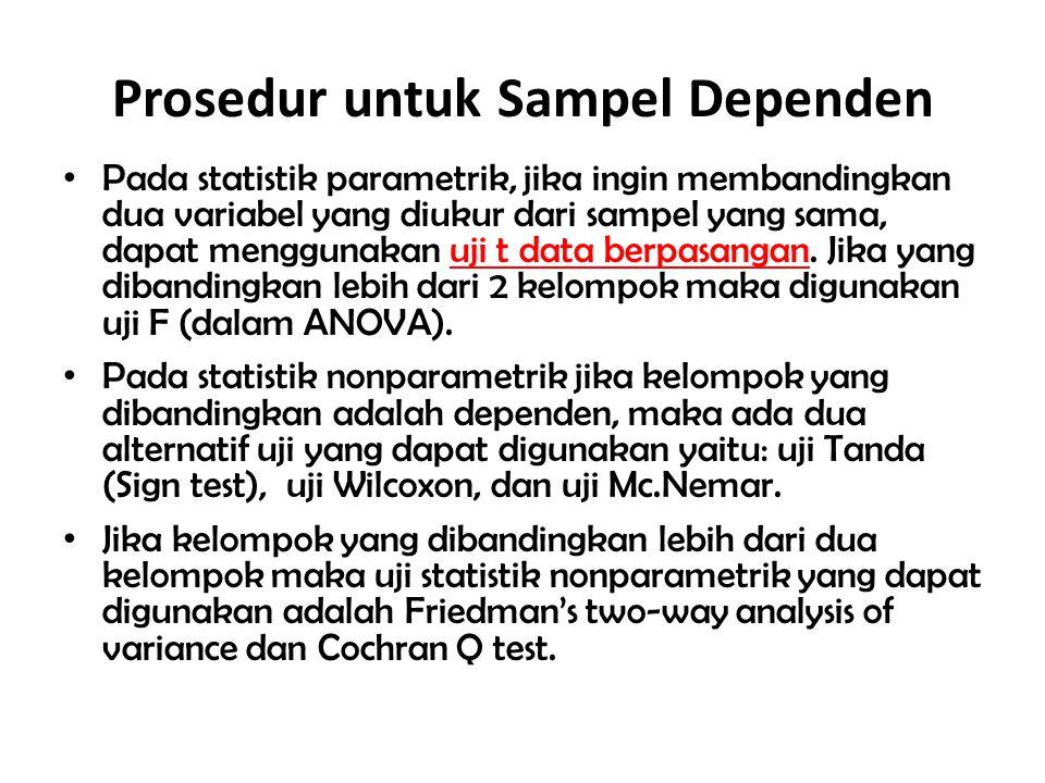Prosedur untuk Sampel Dependen