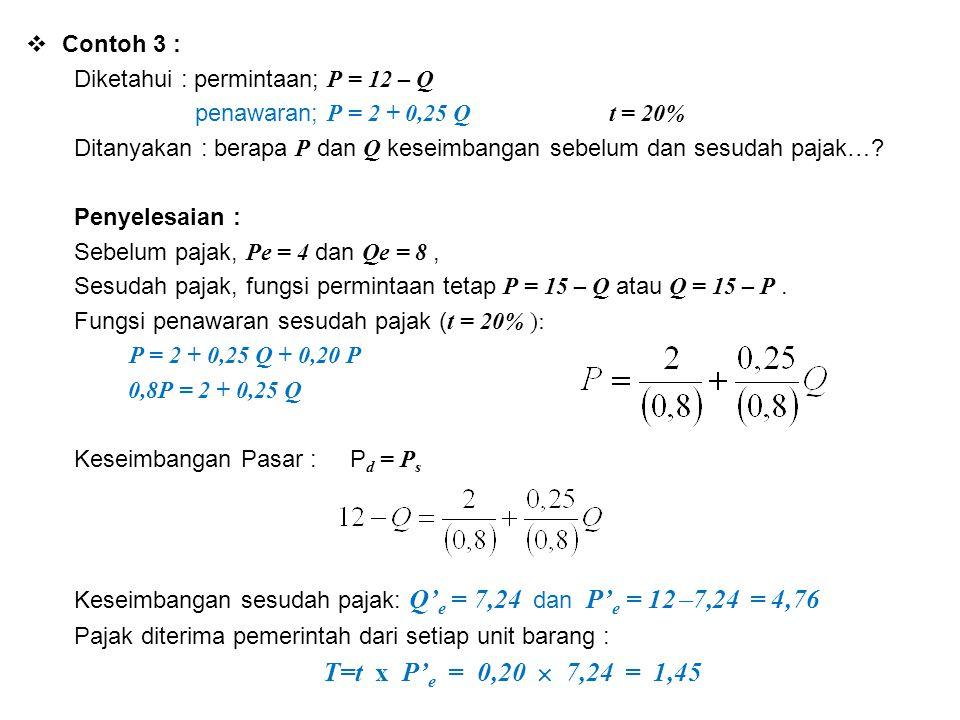 Contoh 3 : Diketahui : permintaan; P = 12 – Q. penawaran; P = 2 + 0,25 Q t = 20%