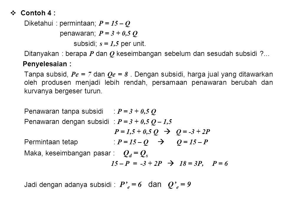 Contoh 4 : Diketahui : permintaan; P = 15 – Q. penawaran; P = 3 + 0,5 Q. subsidi; s = 1,5 per unit.