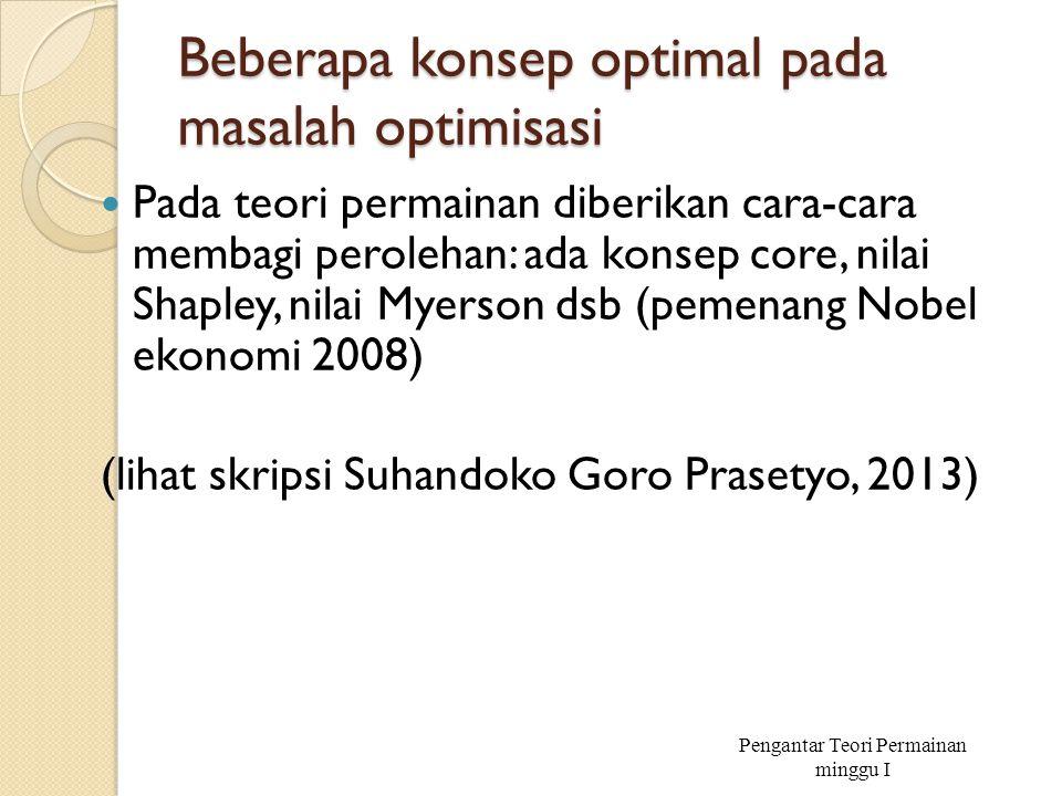 Beberapa konsep optimal pada masalah optimisasi