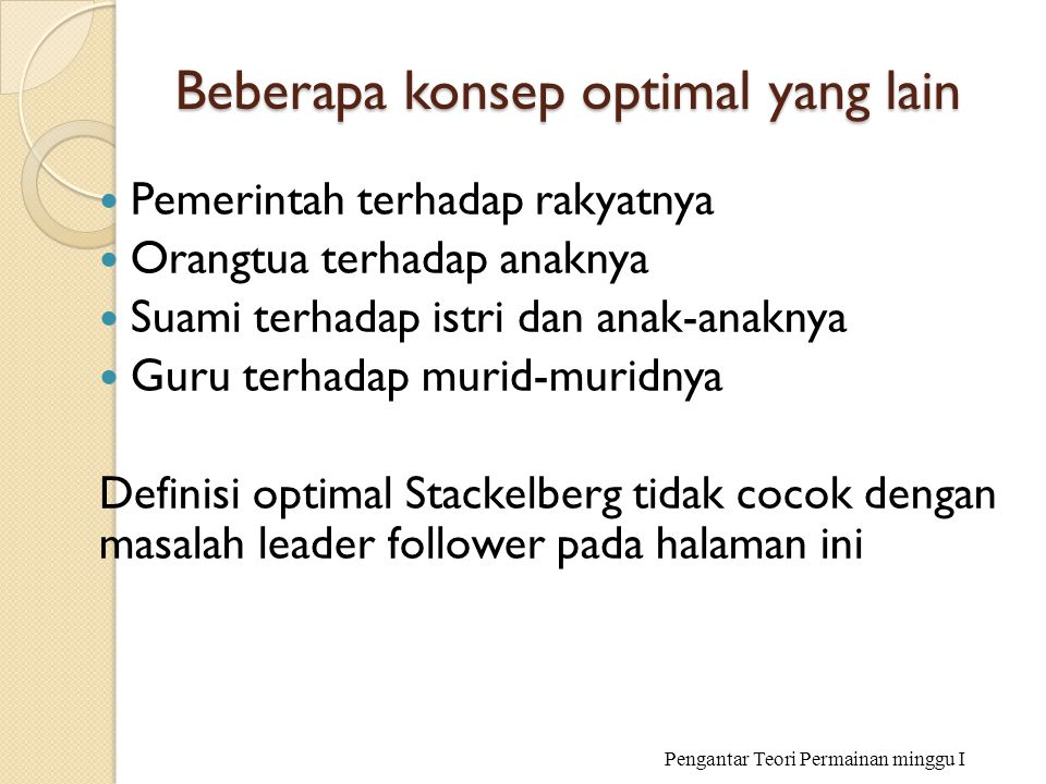 Beberapa konsep optimal yang lain