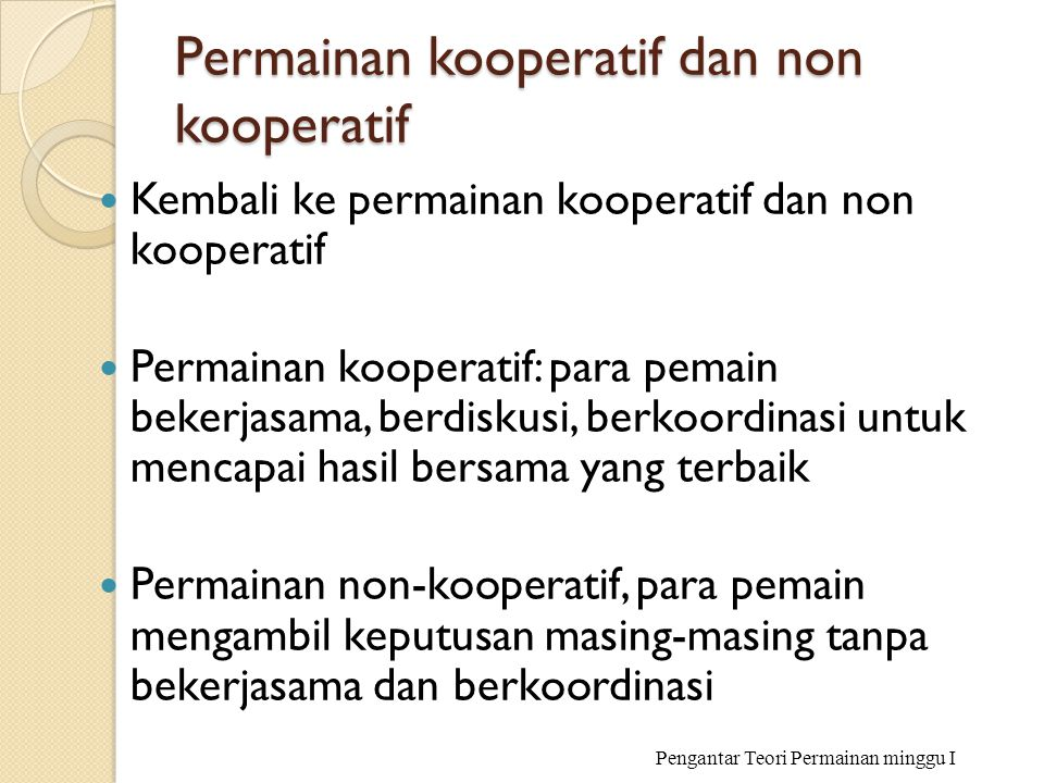 Permainan kooperatif dan non kooperatif