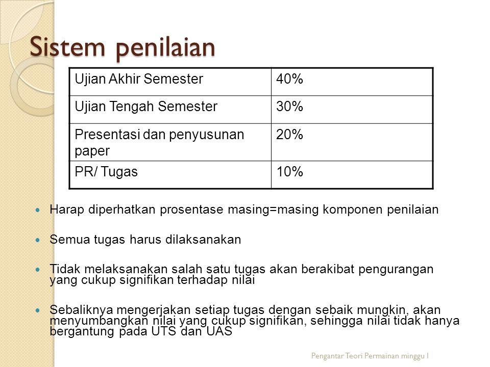 Sistem penilaian Ujian Akhir Semester 40% Ujian Tengah Semester 30%