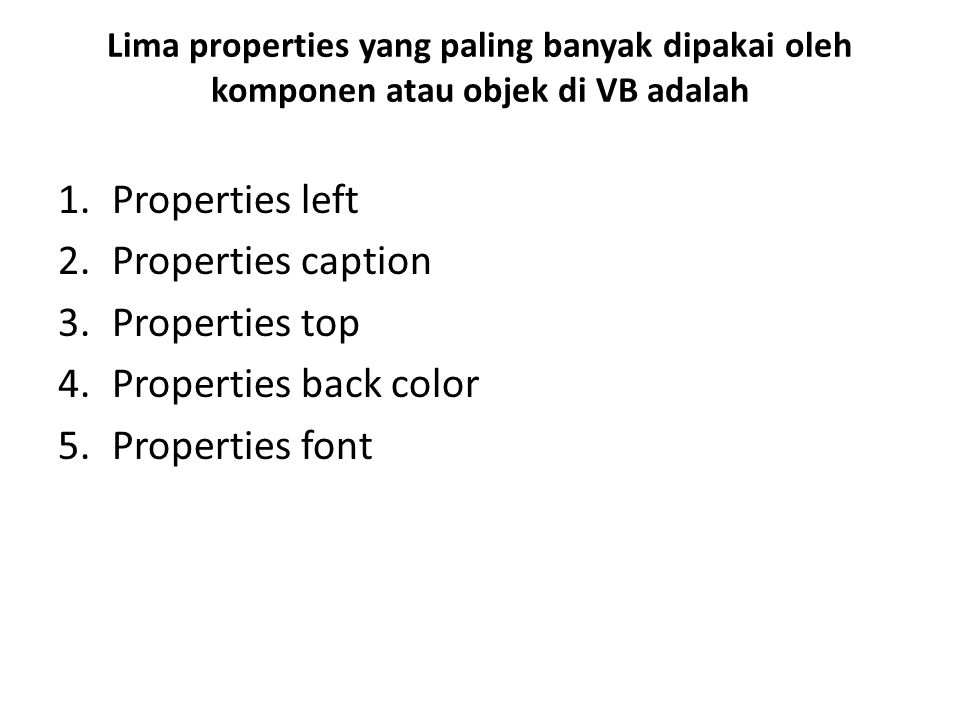 Properties left Properties caption Properties top