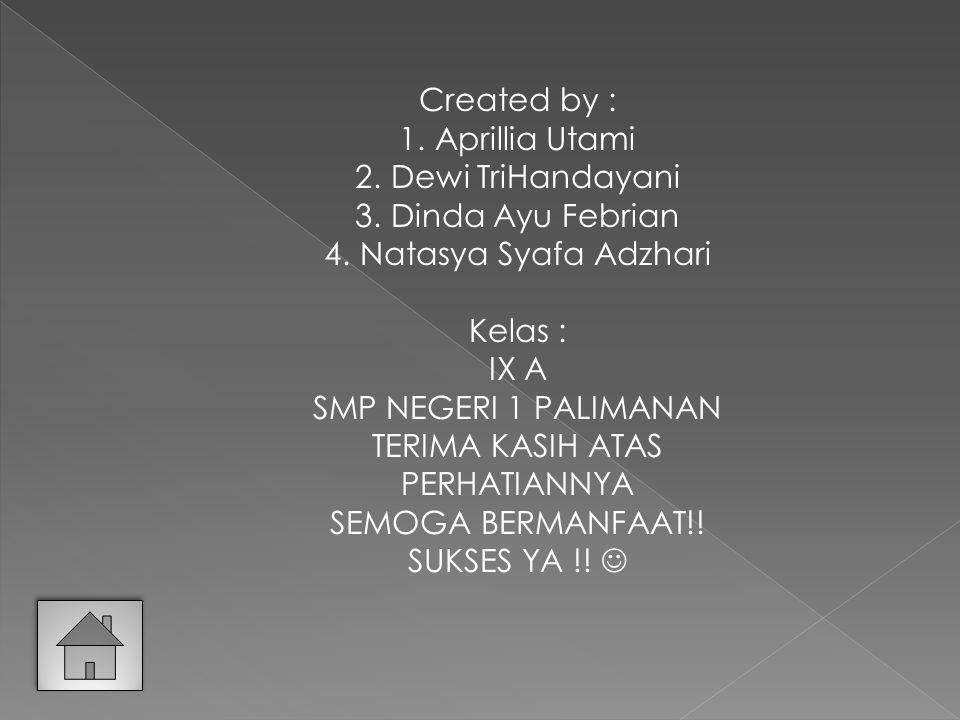 Created by : Aprillia Utami. Dewi TriHandayani. Dinda Ayu Febrian. Natasya Syafa Adzhari. Kelas :