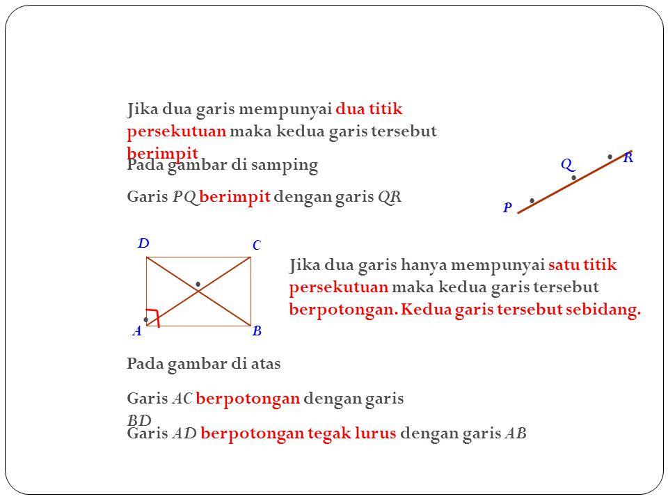 Garis PQ berimpit dengan garis QR •