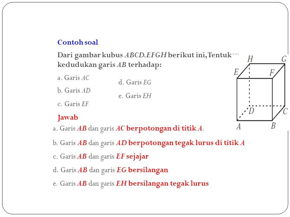 Contoh soal Dari gambar kubus ABCD.EFGH berikut ini, Tentukan kedudukan garis AB terhadap: a. Garis AC.