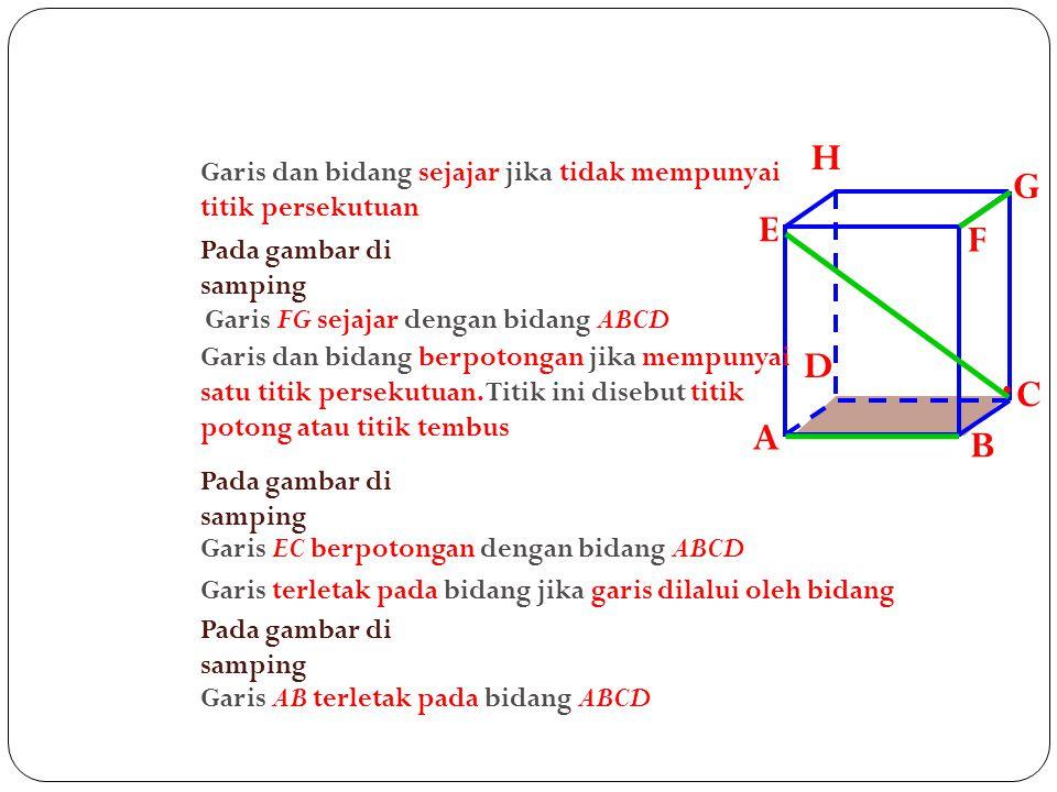 A B. C. D. H. E. F. G. Garis dan bidang sejajar jika tidak mempunyai titik persekutuan. Pada gambar di samping.