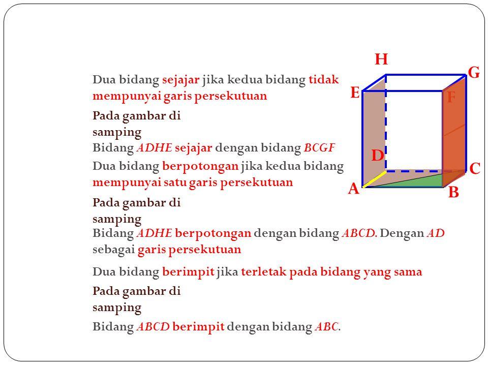 A B. C. D. H. E. F. G. Dua bidang sejajar jika kedua bidang tidak mempunyai garis persekutuan.