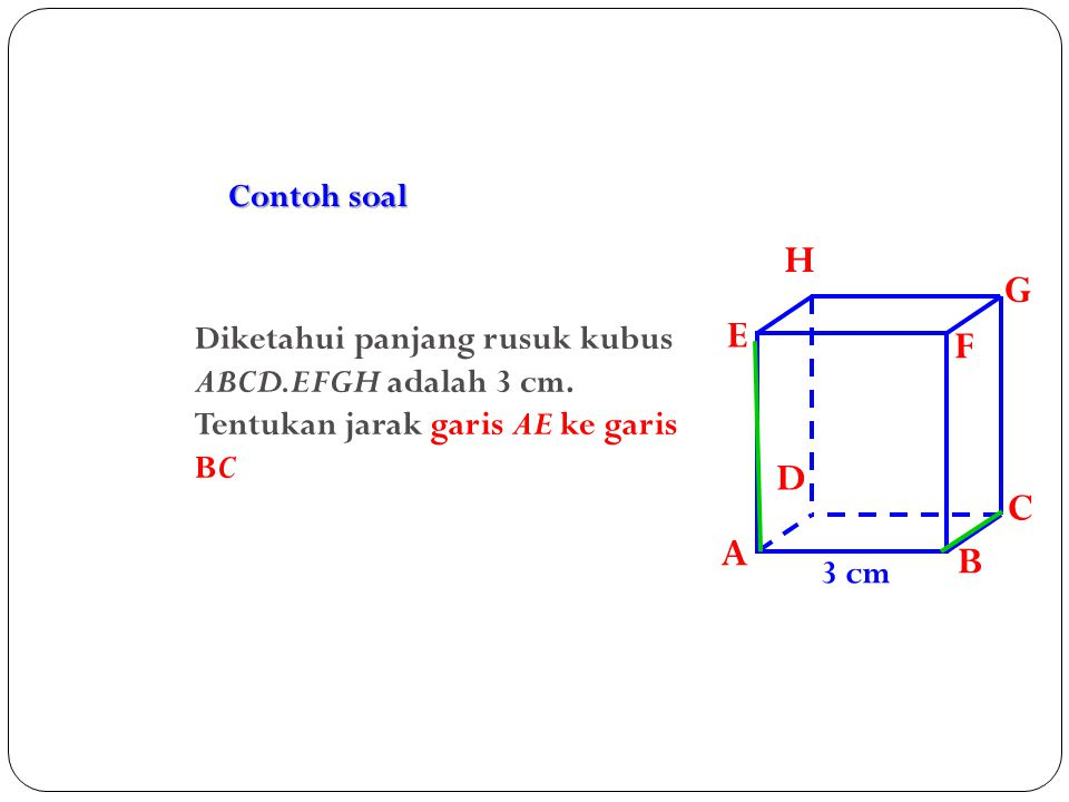 Contoh soal A. B. C. D. H. E. F. G. Diketahui panjang rusuk kubus ABCD.EFGH adalah 3 cm. Tentukan jarak garis AE ke garis BC.