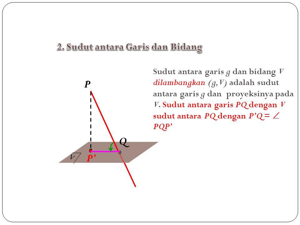 P Q P' 2. Sudut antara Garis dan Bidang
