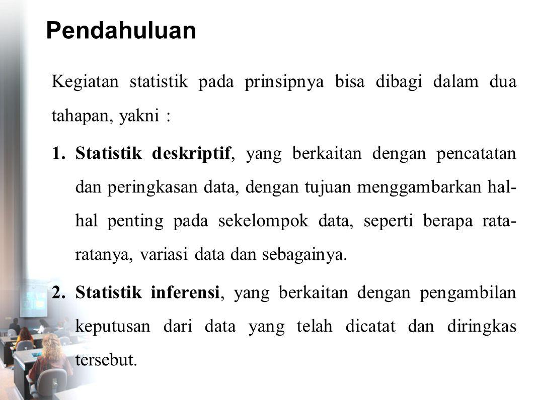 Pendahuluan Kegiatan statistik pada prinsipnya bisa dibagi dalam dua tahapan, yakni :