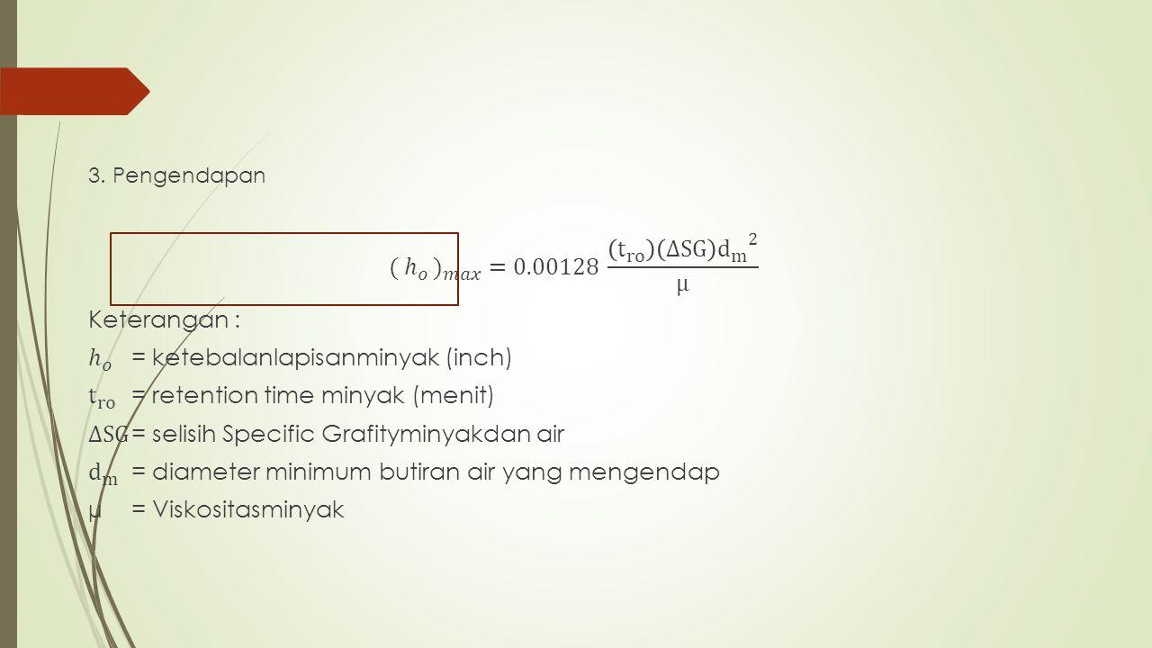 ℎ 𝑜 = ketebalanlapisanminyak (inch)