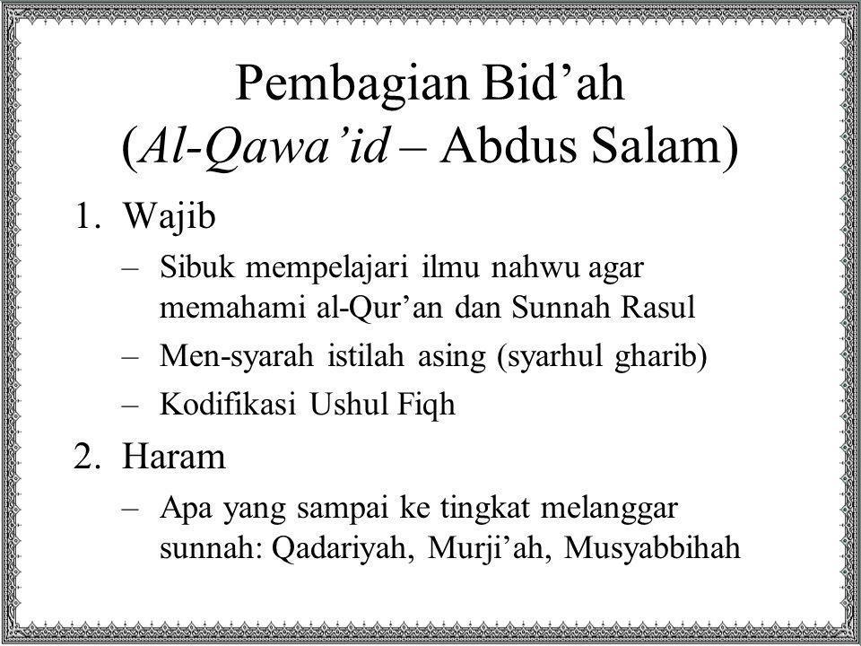 Pembagian Bid'ah (Al-Qawa'id – Abdus Salam)