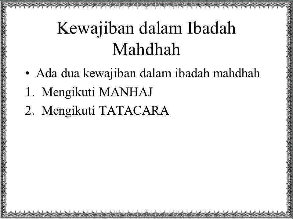 Kewajiban dalam Ibadah Mahdhah