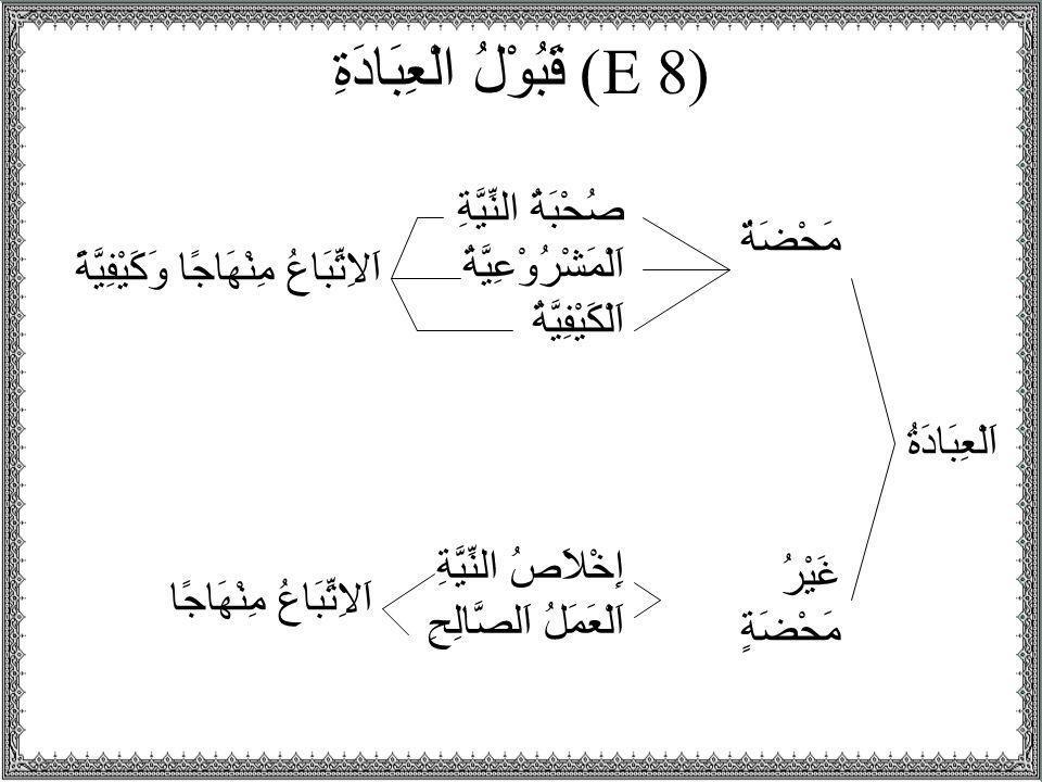 (E 8) قَبُوْلُ الْعِبَادَةِ