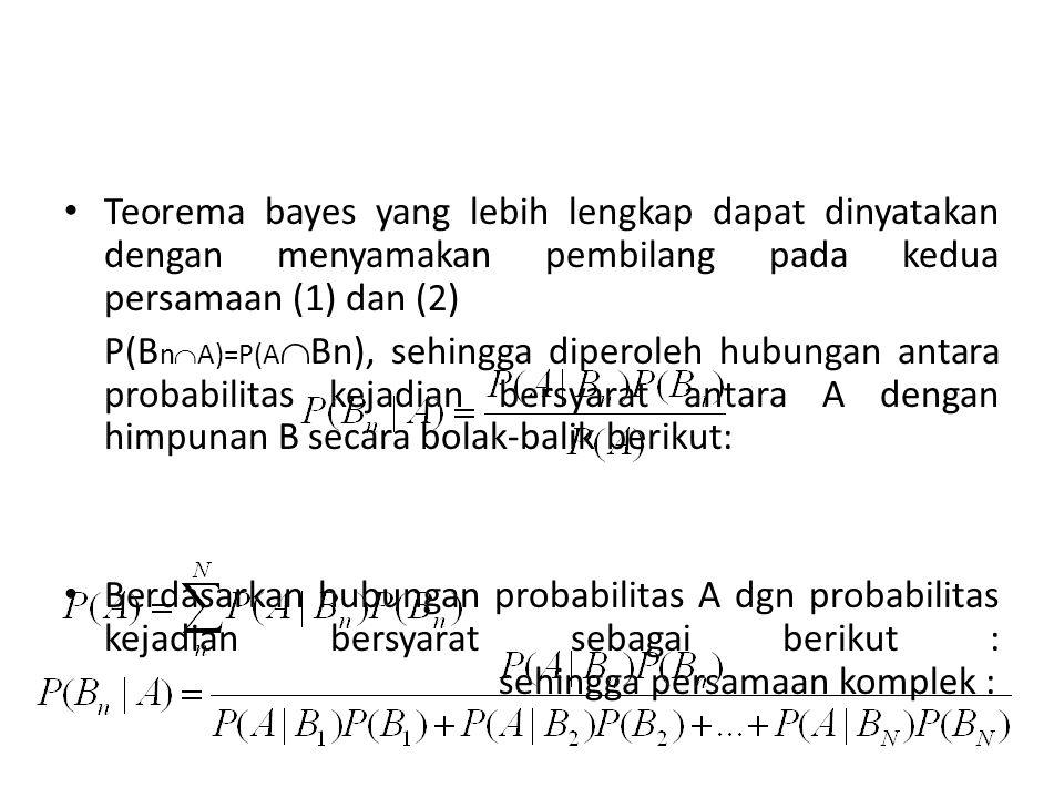 Teorema bayes yang lebih lengkap dapat dinyatakan dengan menyamakan pembilang pada kedua persamaan (1) dan (2)