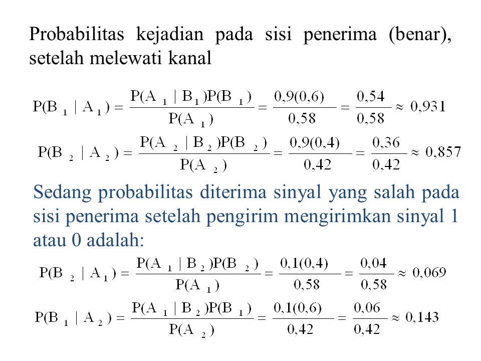 Probabilitas kejadian pada sisi penerima (benar), setelah melewati kanal