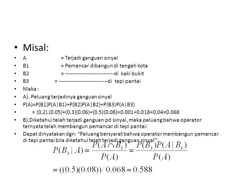 Jawab Misal: A = Terjadi ganguan sinyal