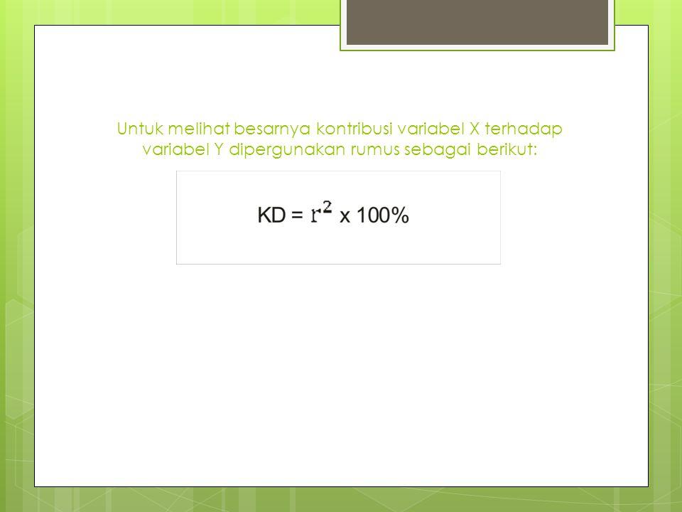 Untuk melihat besarnya kontribusi variabel X terhadap variabel Y dipergunakan rumus sebagai berikut: