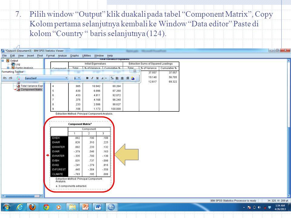 Pilih window Output klik duakali pada tabel Component Matrix , Copy Kolom pertama selanjutnya kembali ke Window Data editor Paste di kolom Country baris selanjutnya (124).