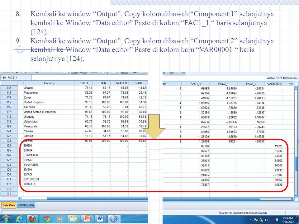 Kembali ke window Output , Copy kolom dibawah Component 1 selanjutnya kembali ke Window Data editor Paste di kolom FAC1_1 baris selanjutnya (124).