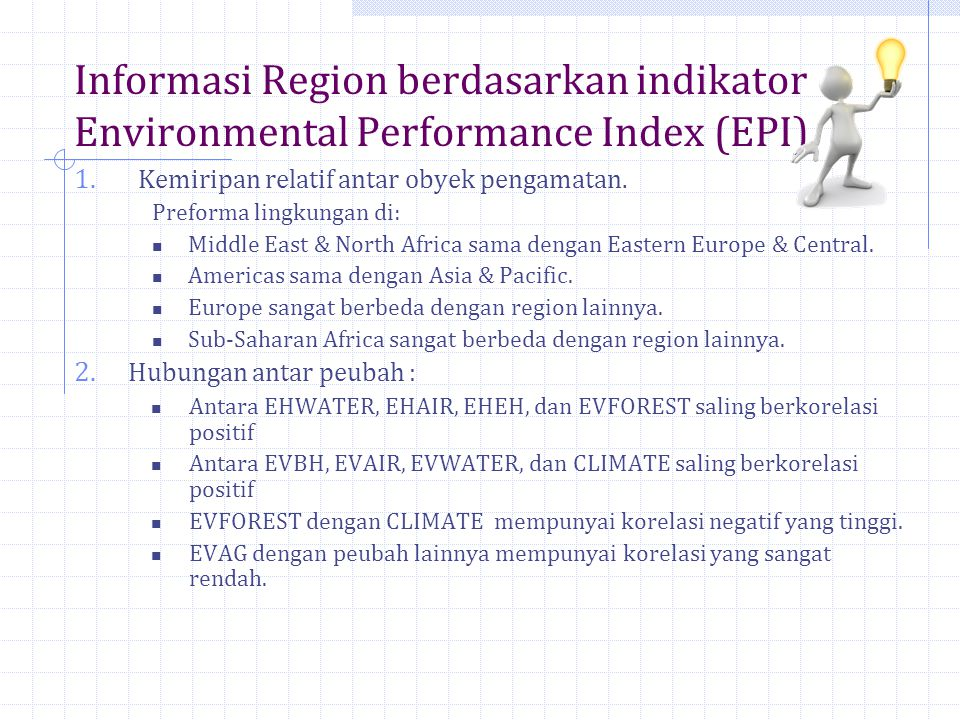 Informasi Region berdasarkan indikator Environmental Performance Index (EPI)