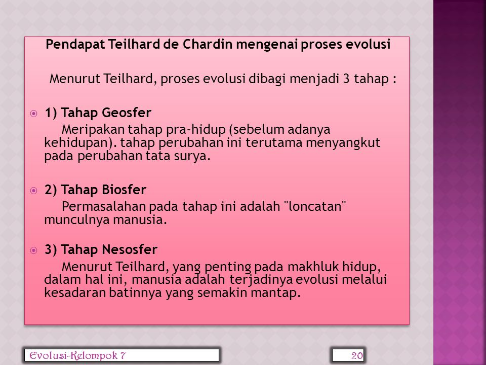 Pendapat Teilhard de Chardin mengenai proses evolusi