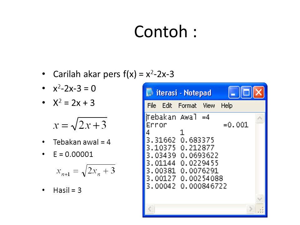 Contoh : Carilah akar pers f(x) = x2-2x-3 x2-2x-3 = 0 X2 = 2x + 3