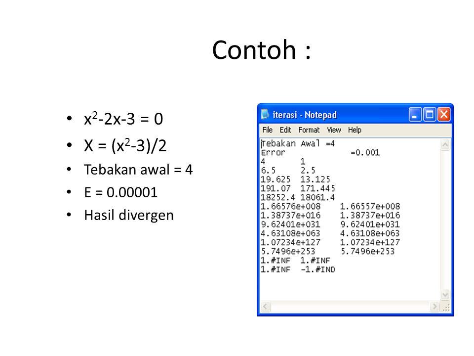 Contoh : x2-2x-3 = 0 X = (x2-3)/2 Tebakan awal = 4 E = 0.00001