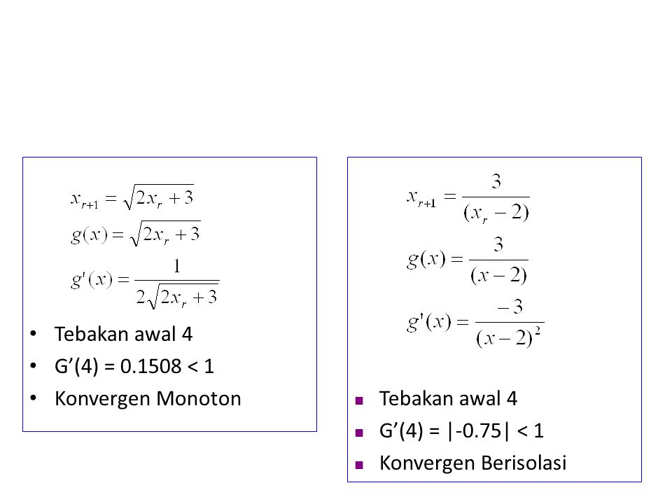 Tebakan awal 4 G'(4) = 0.1508 < 1. Konvergen Monoton.