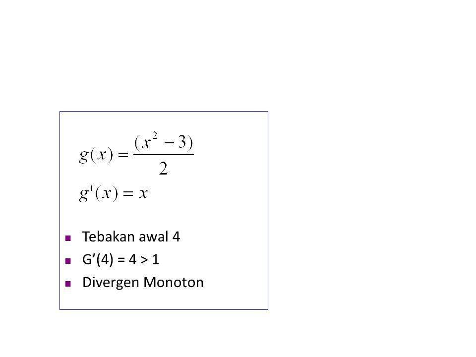 Tebakan awal 4 G'(4) = 4 > 1 Divergen Monoton