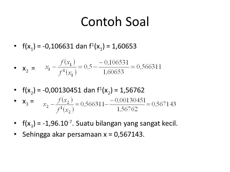 Contoh Soal f(x1) = -0,106631 dan f1(x1) = 1,60653 x2 =
