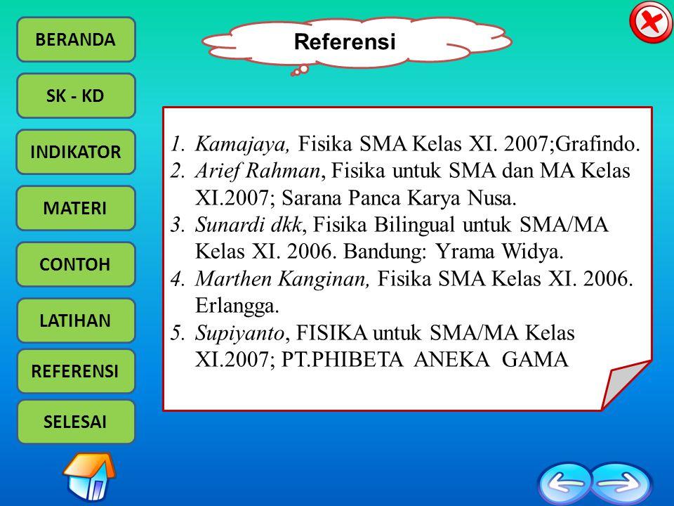 Referensi Kamajaya, Fisika SMA Kelas XI. 2007;Grafindo. Arief Rahman, Fisika untuk SMA dan MA Kelas XI.2007; Sarana Panca Karya Nusa.