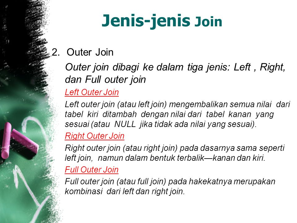 Jenis-jenis Join Outer Join