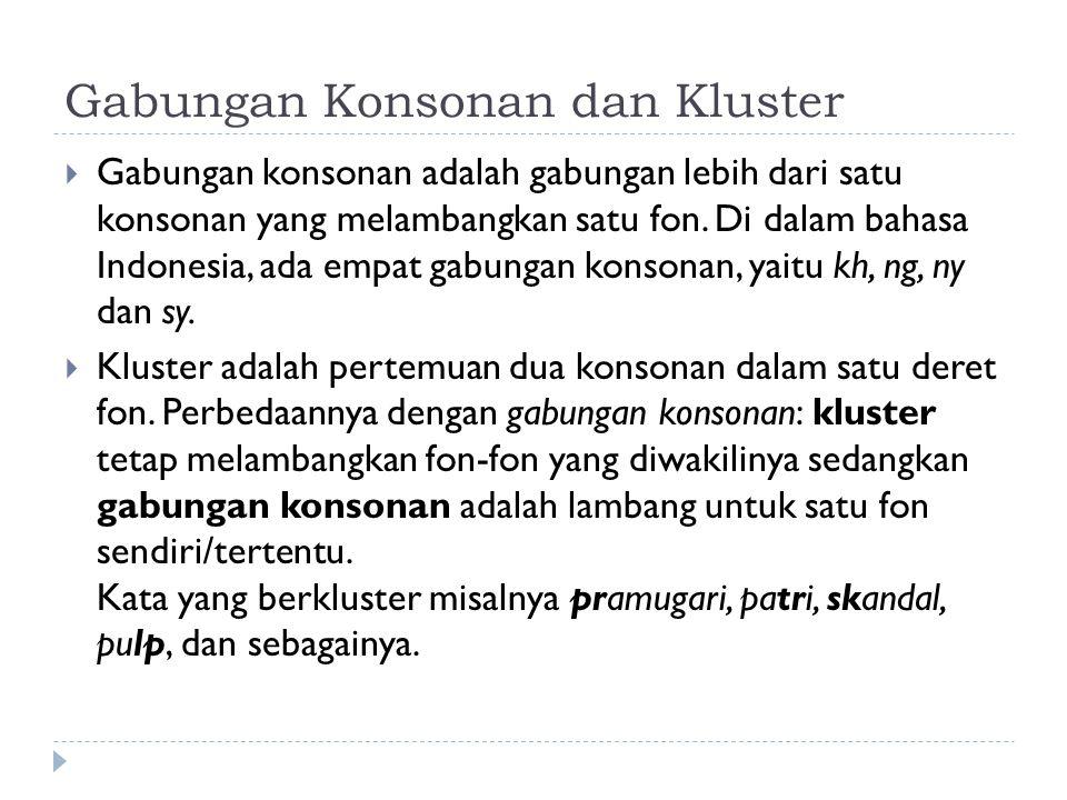 Gabungan Konsonan dan Kluster