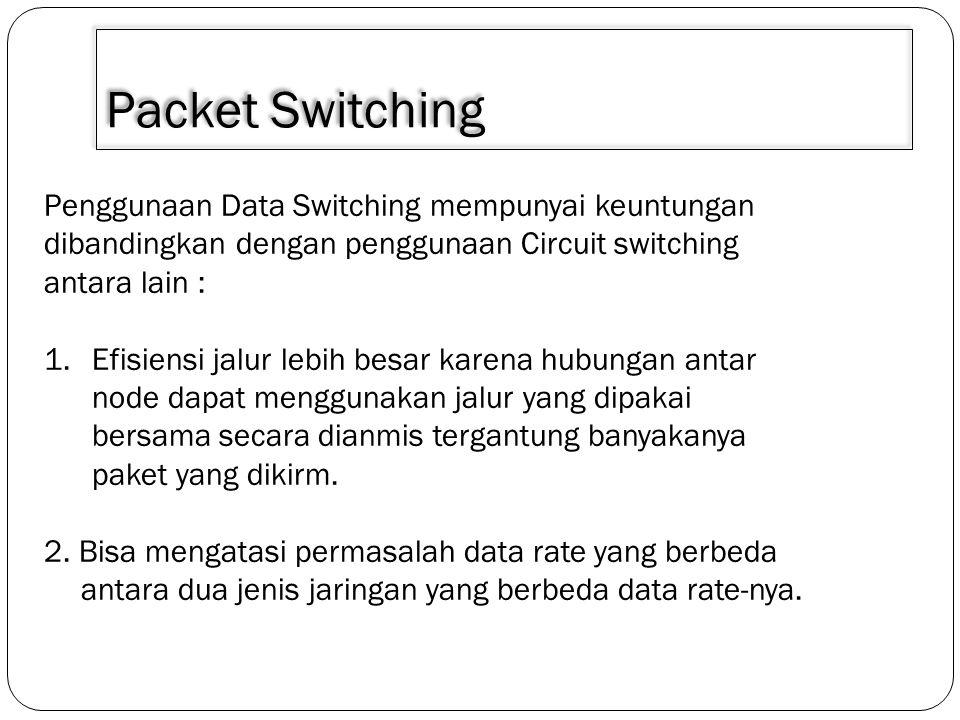 3/30/2011 Packet Switching. Penggunaan Data Switching mempunyai keuntungan dibandingkan dengan penggunaan Circuit switching antara lain :