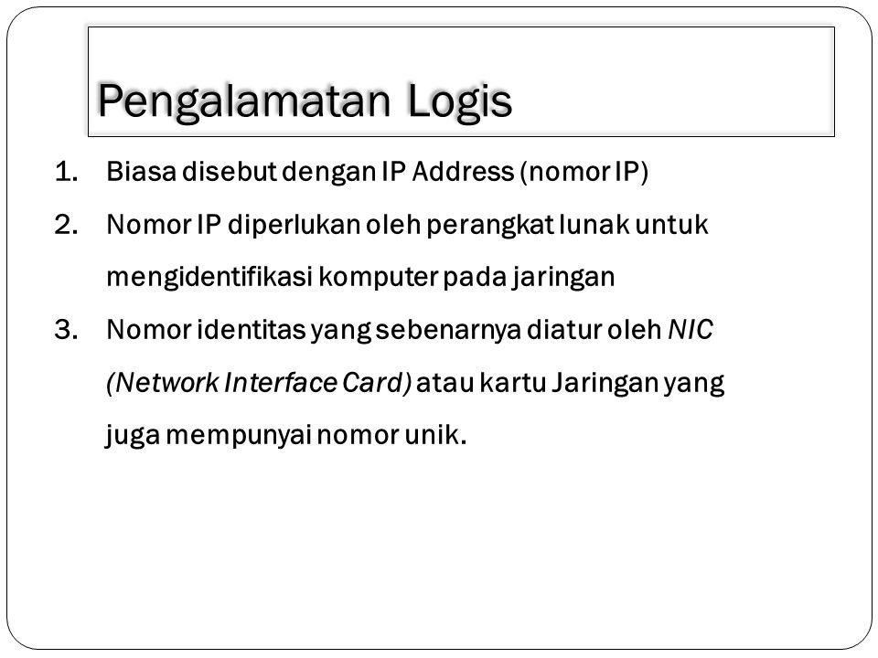 Pengalamatan Logis Biasa disebut dengan IP Address (nomor IP)