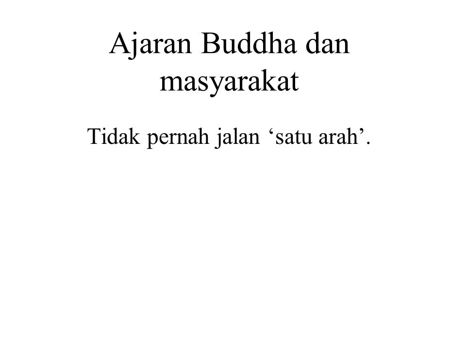 Ajaran Buddha dan masyarakat